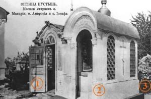 Первоначальный вид места захоронения трех старцев: (1) - часовня над могилой старца Макария; (2) - часовня над могилой старца Амвросия; (3) - могила старца Иосифа