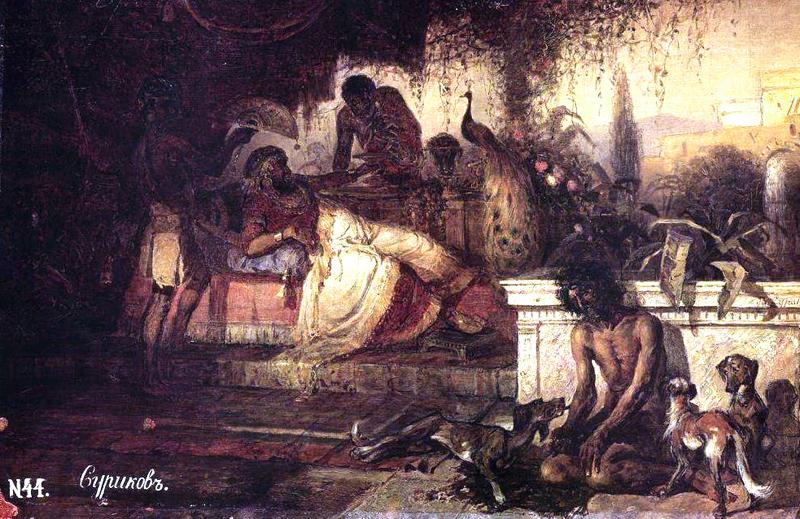 Богач и Лазарь. 1873, Суриков В.И.