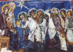 Волхвы. Фреска XII в. пещерной церкви, Каппадокия