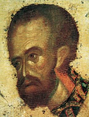 Иконостас Благовещенского собора Московского кремля. Иоанн Златоуст. Деталь. 1405. Феофан Грек