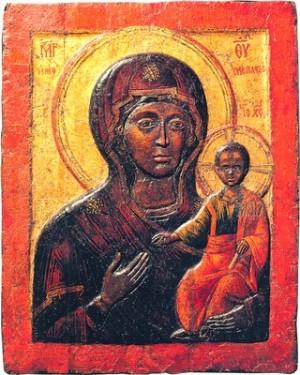 Влахернская икона Божией Матери. 2-я пол. XV в. (на основе XIII в.). Константинополь