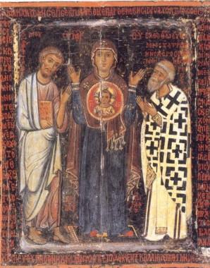 Икона Божией Матери Влахернская с Моисеем и Евфимием, Иерусалим, 13 век