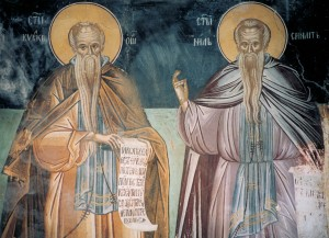 Прпп. Кириак Отшельник и Нил Синайский. Фреска монастыря св. Павла. Афон. 1552 г.