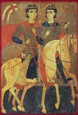 Свв. Сергий и Вакх. Икона. Византия. XIII век. 95 х 62. Монастырь св. Екатерины на Синае (Египет)