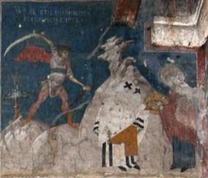 Сщмч. Дионисий. Фреска. Церковь Христа Пантократора. Дечани. Косово. Сербия. Около 1350 года.