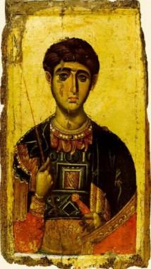 Святой великомученик Димитрий Солунский, икона 15в., Афон, Ватопед
