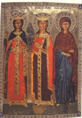 Великомученицы Екатерина, Варвара и Параскева. Греция, 17в.