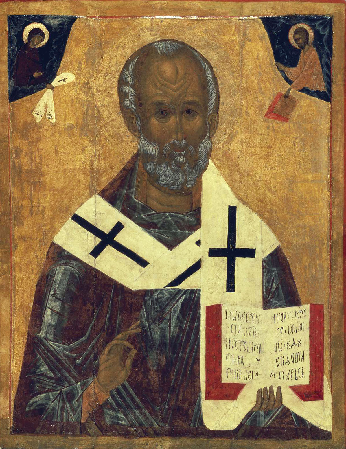 Святой Николай с Христом и Богоматерью