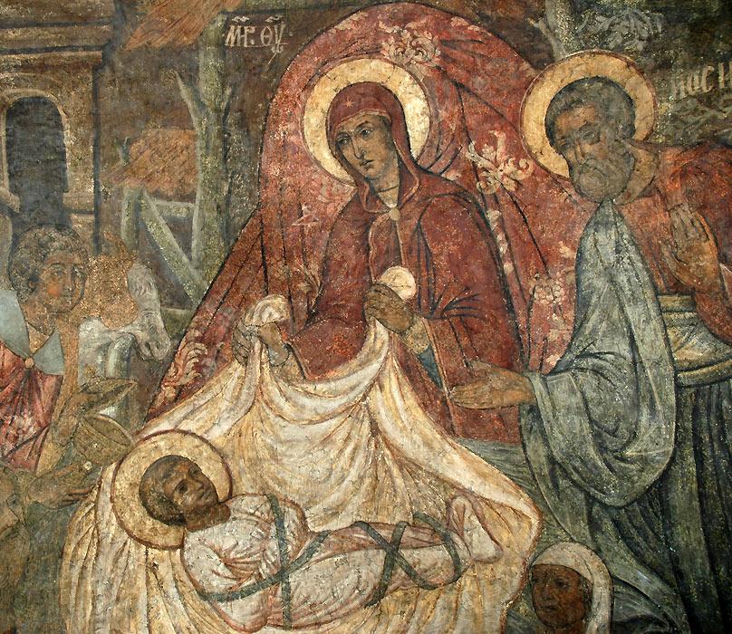 Рождество Христово. Фреска в Сретенском монастыре