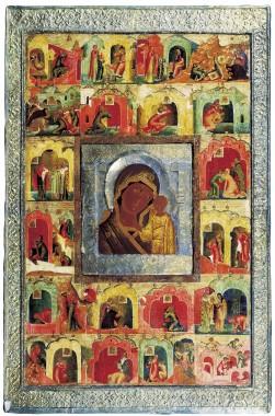 Богоматерь Казанская с изображением чудес в двадцати клеймах. XVII век