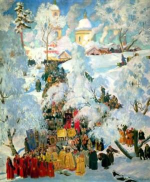 Зима. Крещенское водосвятие. Кустодиев Б.М.