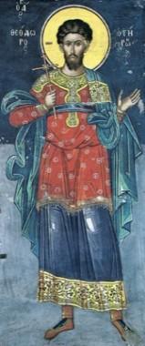Вмч. Феодор. Тзортзи (Зорзис) Фука. Фреска. Афон (Дионисиат). 1547 г.