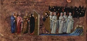 Великий Вторник. Притча о десяти девах. VI в. Миниатюра Евангелия из Россано. Музей в Россано, Италия