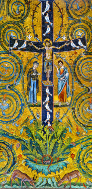 Крест Христов — Древо Жизни (мозаика в базилике св. Климента в Риме, XIІІ в.)