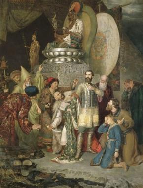 Князь Михаил Черниговский перед ставкой Батыя