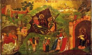 Икона Рождества Христова с поклонением вохвов