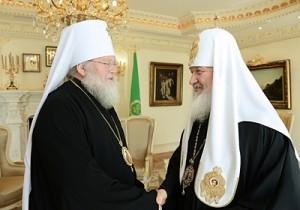 Святейший Патриарх Московский и всея Руси Кирилл принял митрополита Восточно-Американского и Нью-Йоркского Илариона