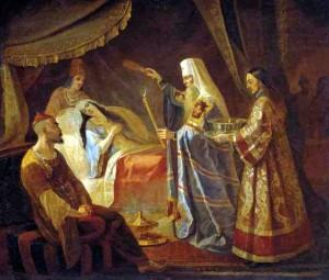 Святитель Алексий исцеляет ханшу Тайдулу.Капков Я. (1816-54).