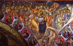 Поцелуй Иуды. Нач. XIV в, фреска монастыря Ватопед, Афон