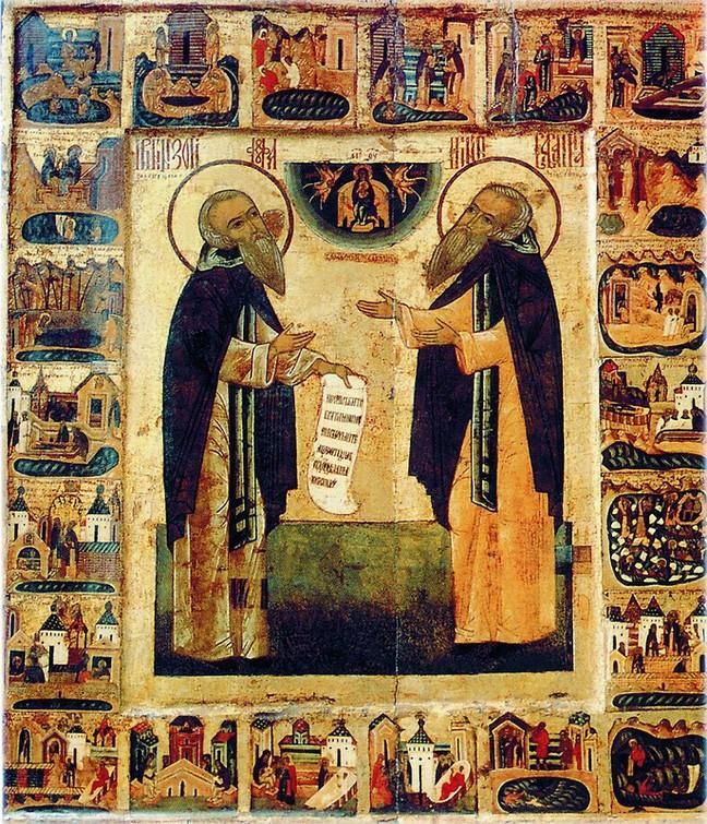 Зосима и Савватий Соловецкие с житием. Икона XVI век