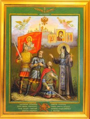 Преподобный Иринарх вручает свой крест Минину и Пожарскому