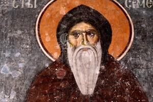 Святой Преподобный Симеон Мироточивый (в миру Великий Жупан Сербии Стефан Неманя). Фреска церкви Богородицы в монастыре Студеница, Сербия.