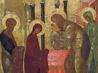 Святой праведный старец Симеон на иконе Сретения Господня