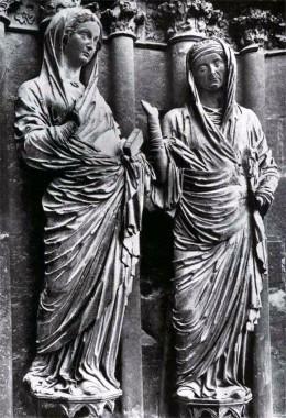 Встреча Марии и Елизаветы. Статуи западного фасада собора в Реймсе. 1225—1240