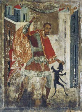 Святитель Никита Новгородский изгоняет беса