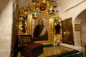 Икона прп. Феодосия в пещерах Лавры