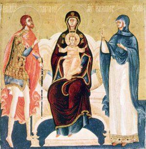 Печерская икона Божией Матери с предстоящими вмч. Никитой и вмц. Анастасией Узорешительницей