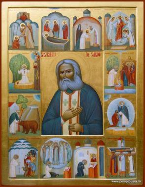 Преподобный Серафим Саровский Чудотворец. Икона с житием старца Серафима