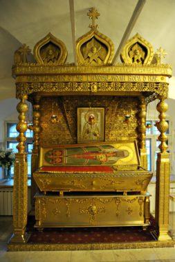 В настоящее время мощи Святителя Тихона почивают на месте его погребения в Малом Соборе