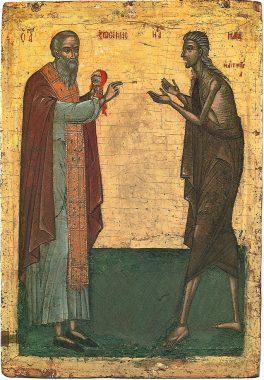 Монах Зосима причащает прп. Марию Египетскую