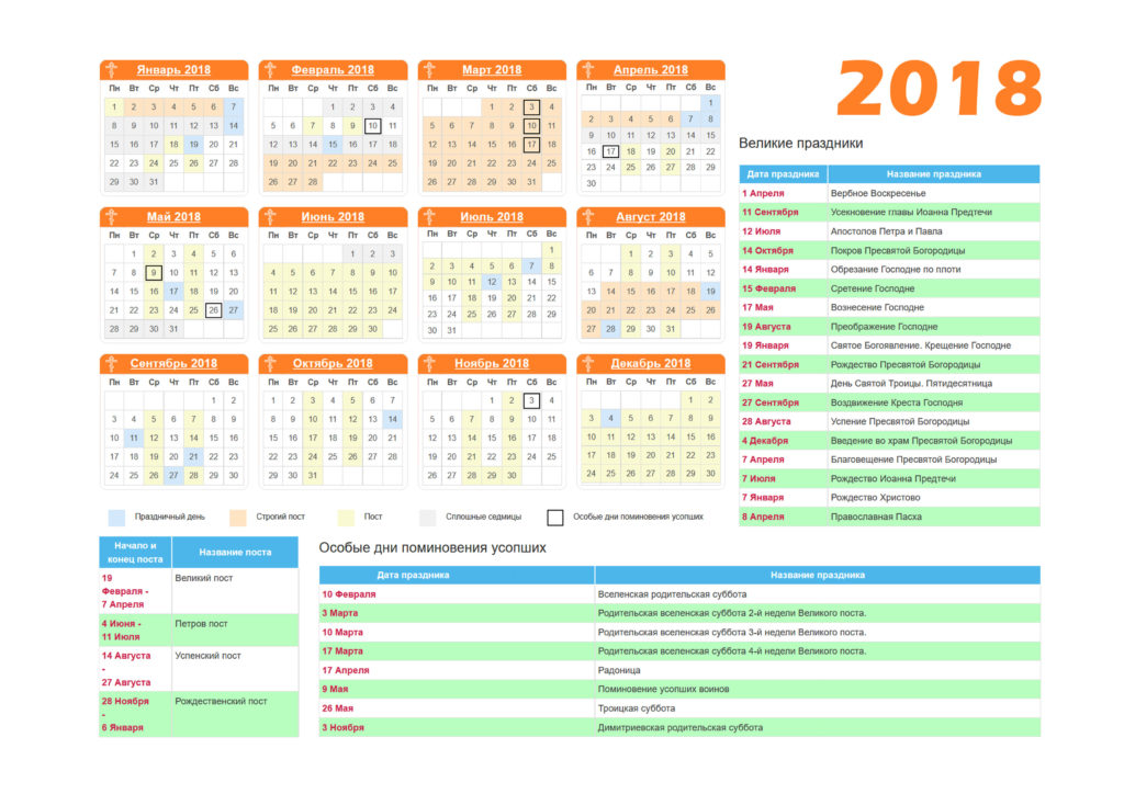 Православный Церковный календарь 2018