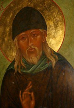 Икона на крышке раки со святыми мощами старца Нектария