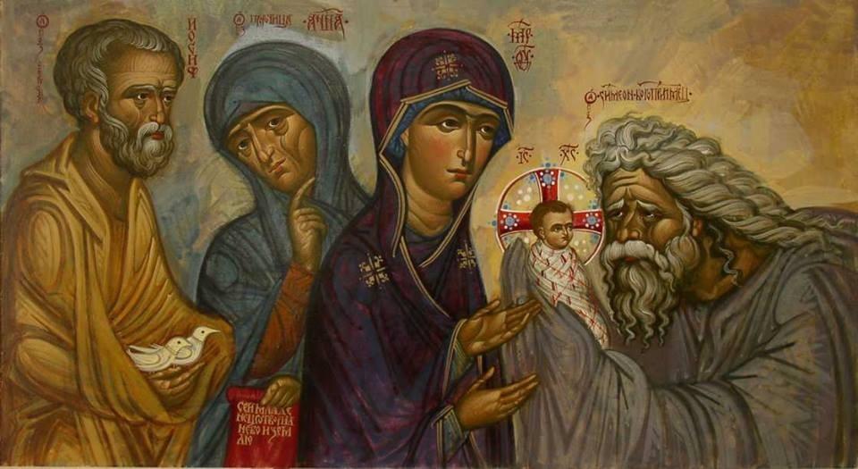Сретение Господне. Святы праведный Симеон и святая Анна пророчица